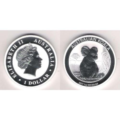 AUSTRALIA, 1 $ PLATA ( 1 OZ. 999 mls. ) KOALA 2017, BU