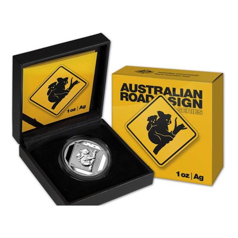 AUSTRALIA, 1 $ PLATA ( 1 OZ. 999 mls. ), 2014 KOALA ROAD SIGN