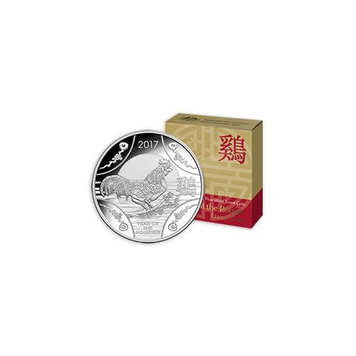 AUSTRALIA, 1 $ PLATA ( 11,66 grs.. 999 mls. ) 2017, AÑO GALLO, RAM