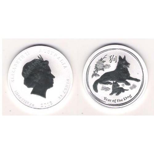 AUSTRALIA, 50 CENTS PALTA ( 1/2 OZ. 999 mls. ) AÑO DEL PERRO, 2018