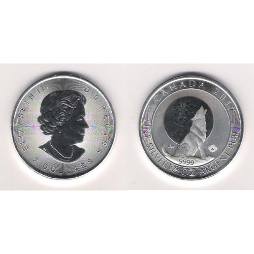 CANADÁ, 2 $ PLATA ( 3/4 OZ. 9999 mls. ) LOBO GRIS 2017, S/C