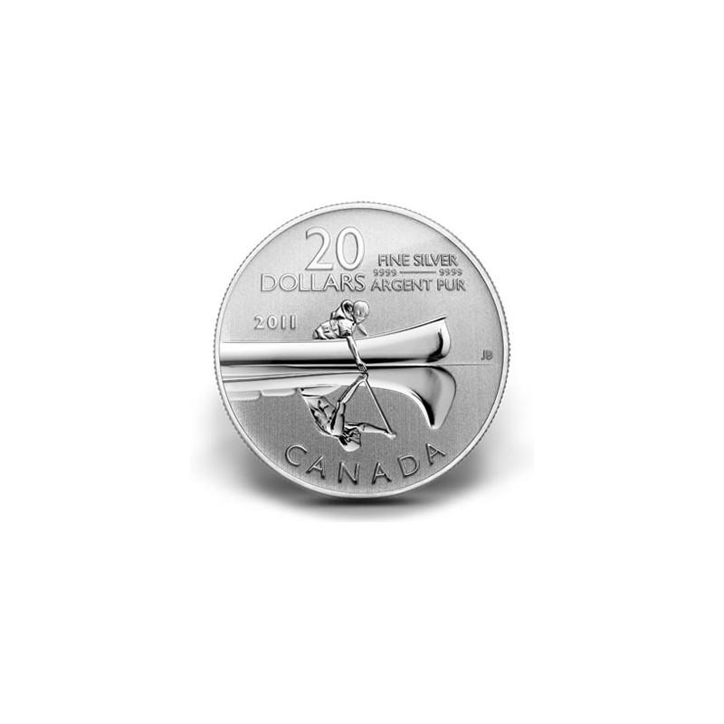 CANADÁ, 20 $ PLATA ( 7'96 grs., LEY 999 mls. ), 2011, CANOA EN
