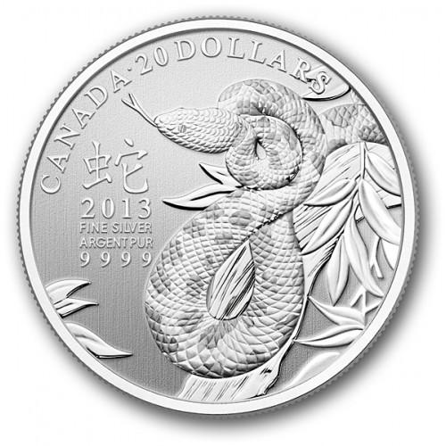 CANADÁ, 20 $ PLATA ( 7'96 grs., LEY 999 mls. ), 2013, AÑO SERPIE