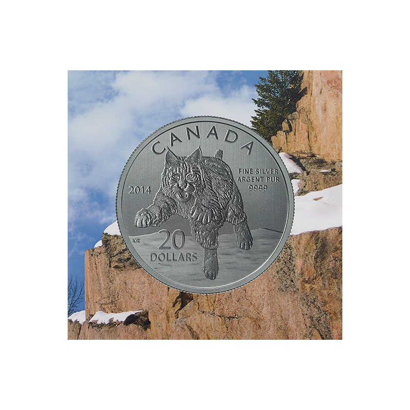 CANADÁ, 20 $ PLATA ( 7'96 grs., LEY 999 mls. ), LINCE, 2014