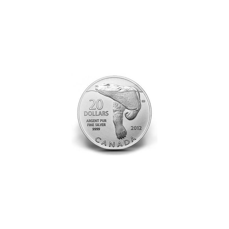 CANADÁ, 20 $ PLATA ( 7'96 grs., LEY 999 mls. ), OSO POLAR, 2012