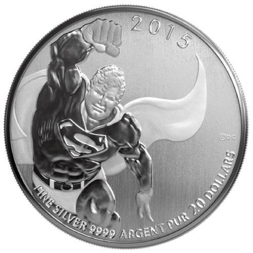CANADÁ, 20 $ PLATA (7,96 grs ley 9999 mls), SUPERMAN 2015
