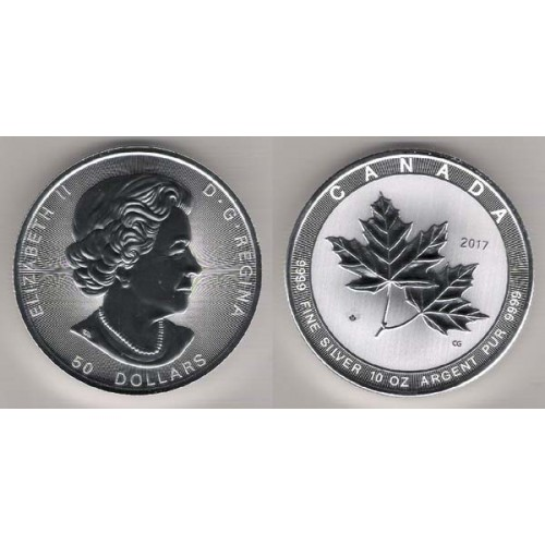 CANADÁ, 50 $ PLATA (10 OZ. 9999 mls), HOJA DE ARCE 2017 MAGNIFICENT