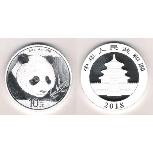 CHINA, 10 YUAN PLATA ( 30 grs. LEY 999 mls. ) PANDA 2018, BU
