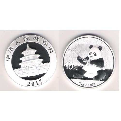 CHINA, 10 YUAN PLATA ( 30 grs. LEY 999 mls. ), PANDA 2017, BU
