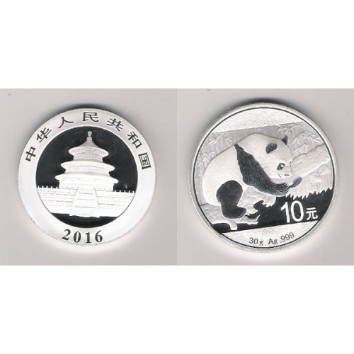 CHINA, 10 YUAN PLATA ( 30 grs., LEY 999 mls. ), PANDA 2016, BU
