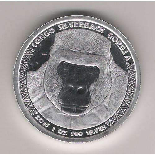 CONGO, 5000 FR. PLATA ( 1 OZ. 999 mls), GORILA ESPALDA PLATEADA 2016