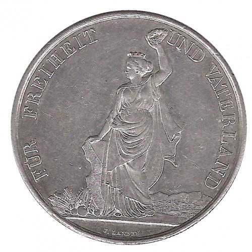 Suiza, 5 Francs Plata, Festival Tiro Zurich 1872, EBC-
