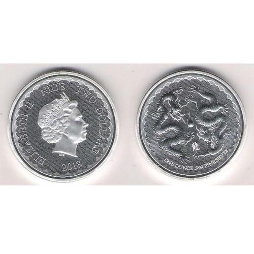 NIUE, 2 $ PLATA (1 OZ. 999 mls) 2018 DRAGONES ORIENTALES BU