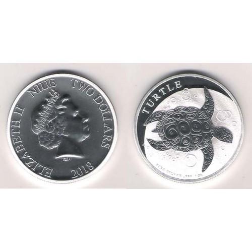 NIVE, 2 $ PLATA ( 1 OZ. 999 msl. ) TORTUGA 2018, BU