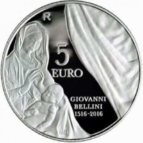 SAN MARINO, 5 € PLATA, 2016, V CENT. NACIMIENTO BELLINI, PROOF
