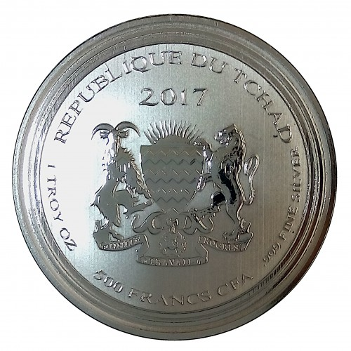 Tchad, 500 Francs CFA ( 1 OZ. 999 mls. ) Scorpion 2017, PROOFLIKE.