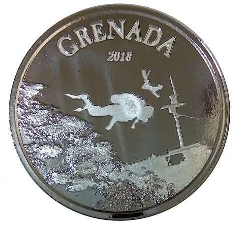 Grenada, 2 $ Plata ( 1 OZ. 999 mls. ) 2018 Corales, PROOFLIKE.