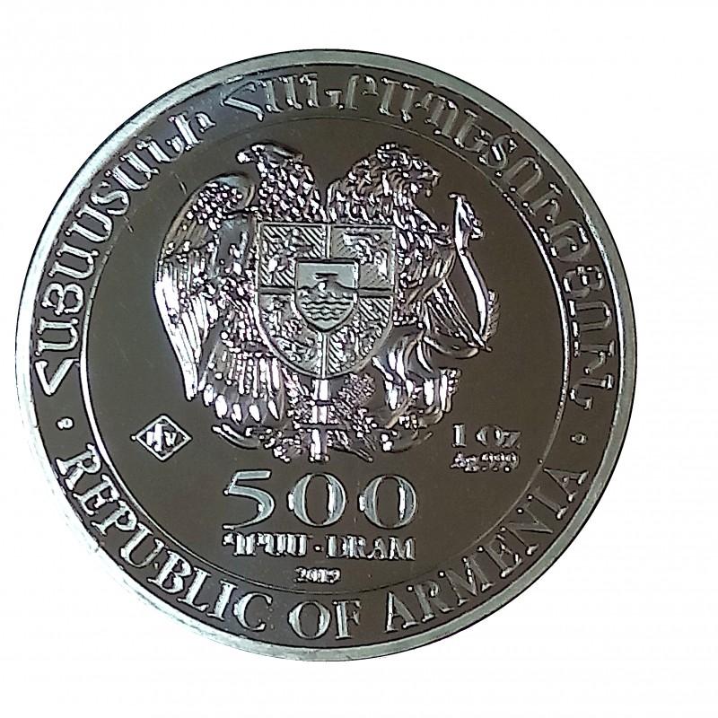 Armenia, 500 Dram Plata ( 1 OZ. 999 mls. ) Arca de Noé 2019, BU.