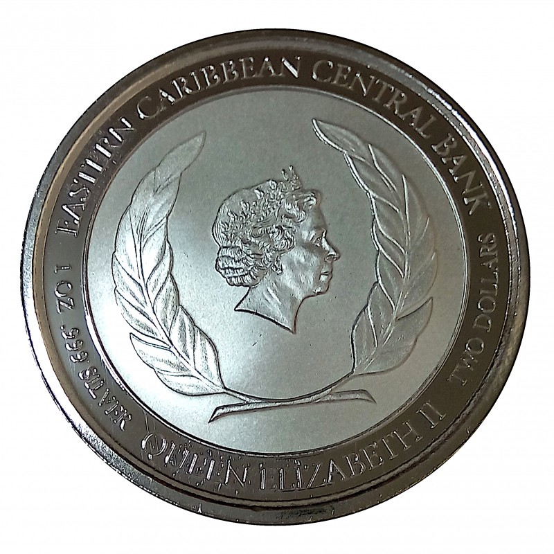 Montserrat, 2 $ plata ( 1 OZ. 999 mls. ) Escudo 2018, PROOFLIKE.