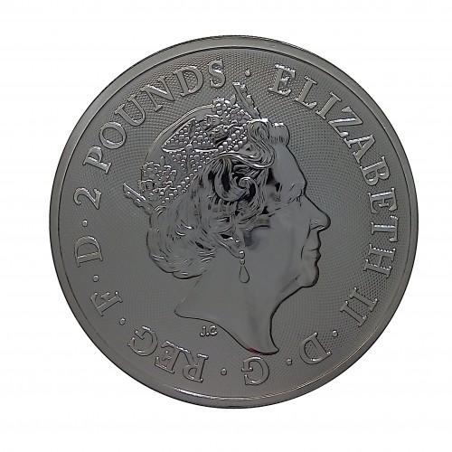 Gran Bretaña, 2 Pounds Plata (  1 OZ. 999 mls. ) Año del Cerdo 2019, BU.