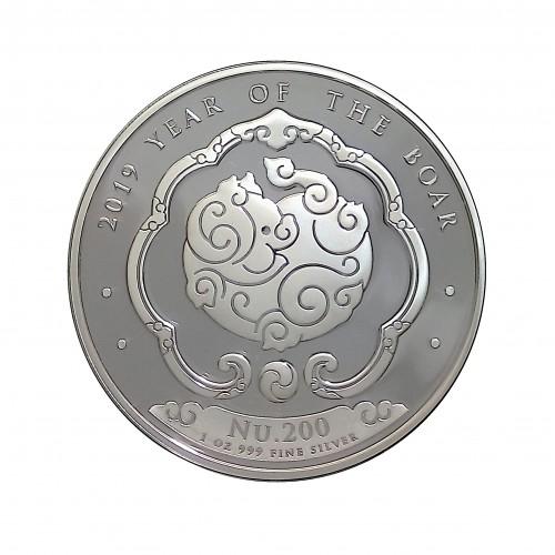 Bhutan, 200 Nguctrum plata ( 1 OZ. ley 999 mls. ) 2019, Año del Cerdo, BU.