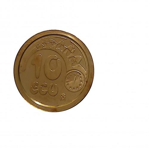 10 Ecu Oro ( 3,45 grs., ley de 900 mls. ) 1989, Plus ultra FDC.
