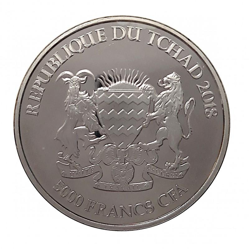 Tchad, 5000 Francs (1 OZ. 999 mls) Serie Mandala, León 2018 BU