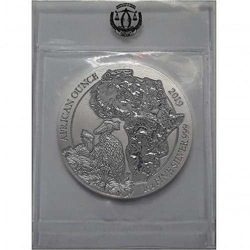 Ruanda, 50 Francs plata ( 1 OZ. 999 mls. ) Pájaro picozapato 2019