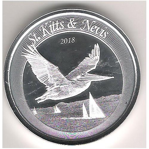 ST. KITTS & NEVIS, 2 $ PLATA (1 OZ. 999 mls) 2018 PELÍCANO MARÓN PROOFLIKE