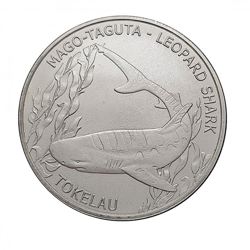Tokelau, 5 $NZ, Plata ( 1 OZ. 999 mls. ) Tiburón Leopardo 2018.