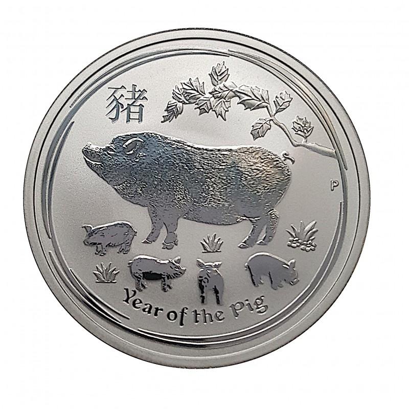 Australia, 50 Cents Plata ( 1/2 OZ. 999 mls. ) 2019, Año Cerdo, BU