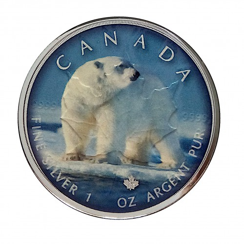 "Canadá, 5 $ Plata ( 1 OZ. 999 mls. ) Maple serie "" On the Trils of Wildlife "" Oso."