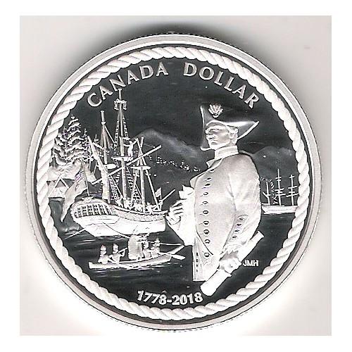 CANADÁ, 1$ PLATA (23'17 grs., LEY 999 mls. ), 240 ANV. CAPITÁN COOK