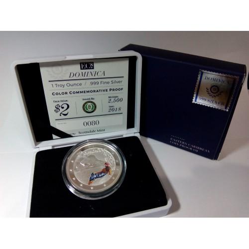 Dominica, 2 $ plata ( 1 0Z. 999 mls. ) 2018 Sirena. PROOF coloreada