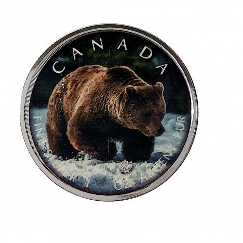 "Canadá, 5 $ Plata ( 1 OZ. 9999 mls. ) Maple ""On The Trails of Widlife"": Grizzly"