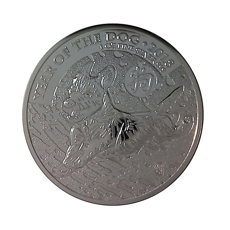 Gran Bretaña, 2 Pounds Plata ( 1 OZ. 999 mls.) Año del Perro 2018, BU.