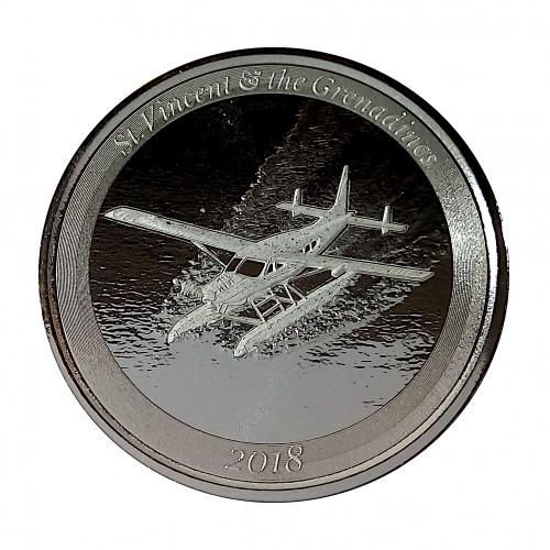 ST. Vencent and the Grenadines, 2$ Plata ( 1 OZ.  999 mls. ) Hidroavión 2018, PROOFLIKE.