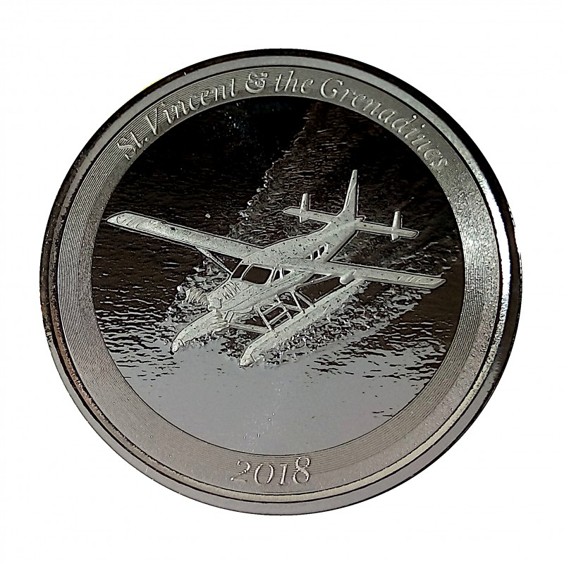 ST. Vencent and the Grenadines, 2$ Plata ( 1 OZ.  999 mls. ) Hidroavión 2018, PROOFLIKE.