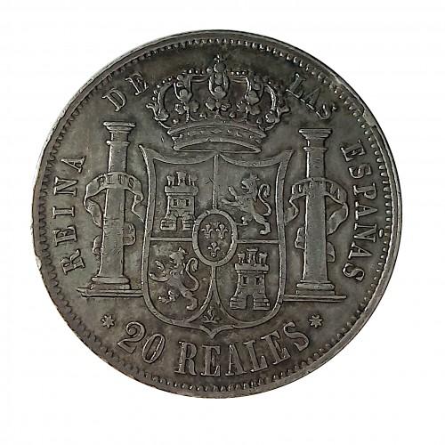 Isabel II,20 Reales Plata 1854, Sevilla MBC+.