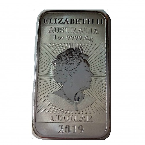 Australia, 1 $ Plata ( 1 OZ. 999 mls. ) Dragón Oriental 2019, rectangular.