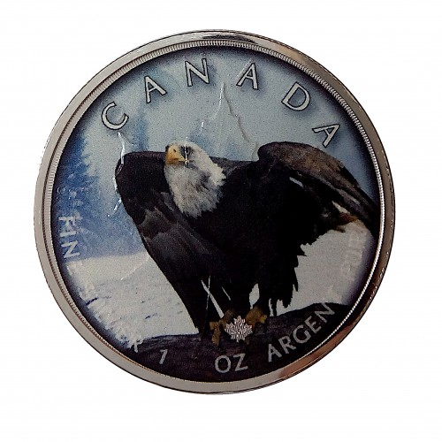 "Canadá, 5 $ Plata ( 1 OZL 999 mls. ) Maple "" On the Trails of Wildlife"", Bald Eagle."