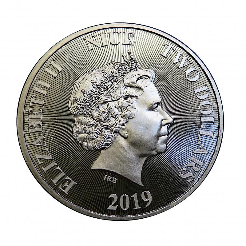 Nive, 2 $ Plata ( 1 OZ. 999 mls. ) León de Judá 2019, BU.