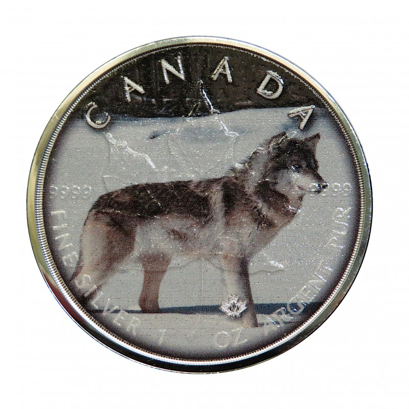 "Canadá, 5 $ Plata ( 1 OZ. 999 mls. ) Maple ""On the Trails of Wildlife "": Wolf"