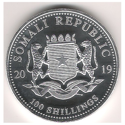 Somalia, 100 Shilling plata ( 1 OZ. 999 mls. ) Elefantes 2019 BU