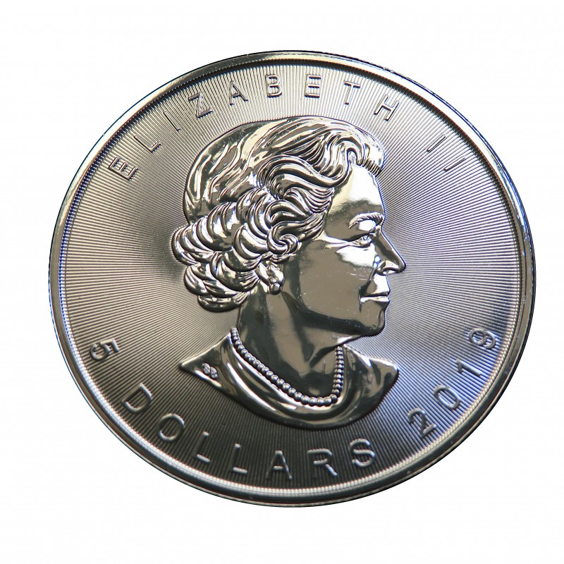 """Canadá, 5 $ Plata ( 1 OZ. 999 mls. ) Maple """"On the Trails of Wildlife """": Wolf"""