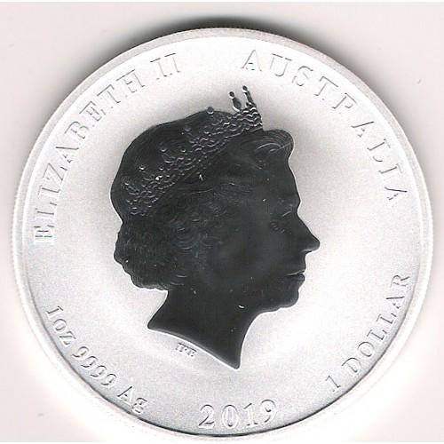 Australia, 1$ Plata ( 1 OZ. 999 mls. ) Año del Cerdo 2019, BU.