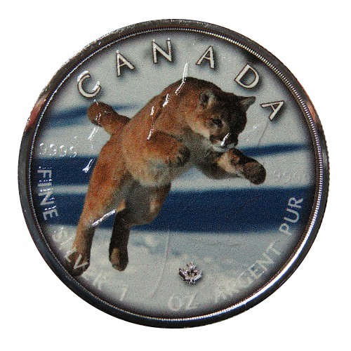 "Canadá, 5 $ Plata ( 1 OZ. 999 mls. ), Maple serie ""On the Trails of Wildlife: Jaguar"""