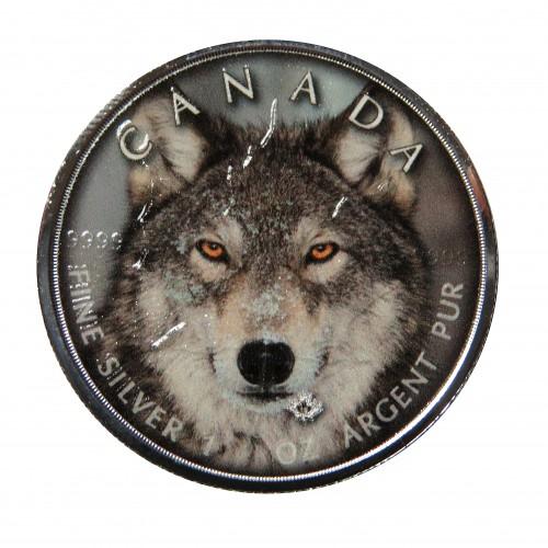 Canadá, 5 $ Plata ( 1 OZ. 9999 mls. ) Canadá's Wildlife coloreada, Lobo gris.