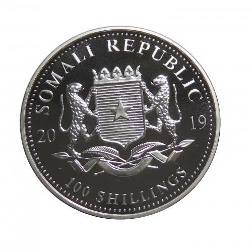 Somalia, 100 Shillings Plat ( 1 OZ. 999 mls. ), Leopardo 2019, BU.