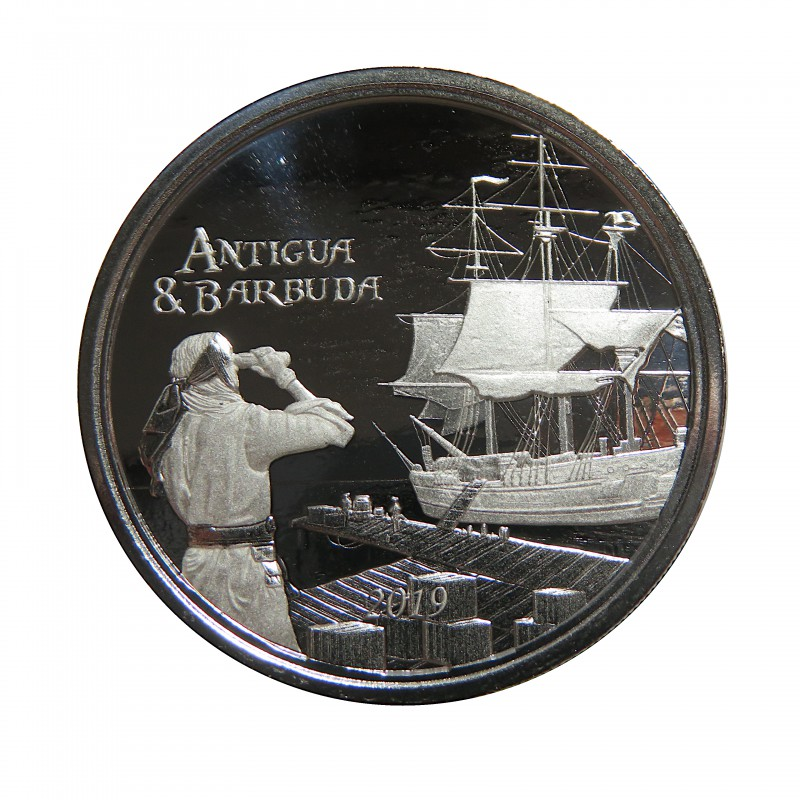 Antigua y Barbuda, 2$ Plata ( 1 OZ. 999 mls. ) 2019, Carrera del Ron II, Prooflike.